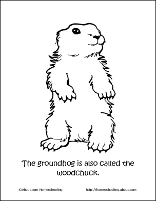 Groundhog day children s stories poems carolyn 39 s for Ground hog coloring page