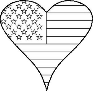 Flag day children s stories poems carolyn 39 s compositions for Flag heart coloring page