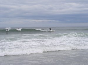 Surfers at Hampton Beach