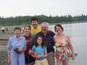The des Isles family---Doris, far left; Carolyn far right; Eugene left of Carolyn