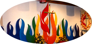 Cross and Flame banner from the 1993 Western PA United Methodist Church annual conference meeting